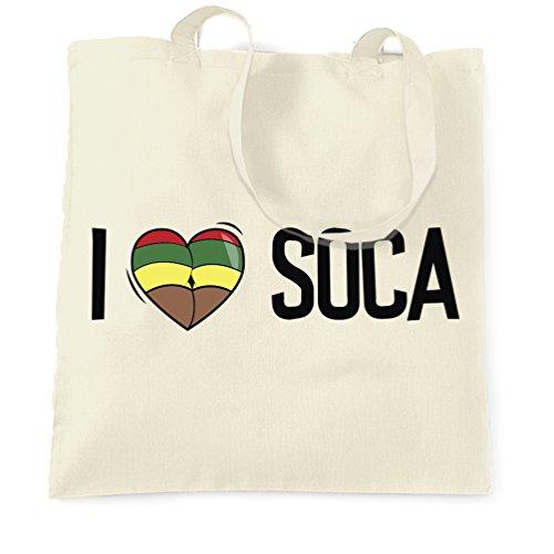 Music Tote Bag I Love Soca Reggae Jamaica Dub Carnival Natural One Size ()