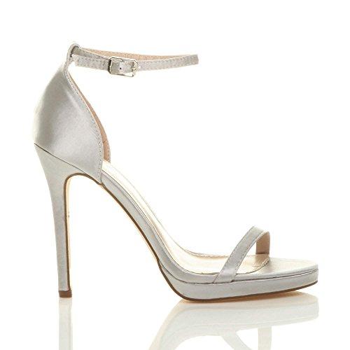 Chaussures Lanières Pointure Boucle Argent Talons Mode Fête Hauts Sandales Satin Femmes YpqUa4WOx