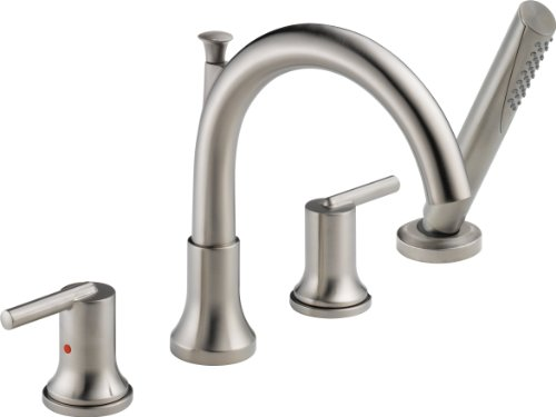 - Delta Faucet T4759-SS Trinsic, Roman Tub with Hand Shower Trim, Stainless