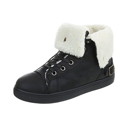 Women's Trainers Flat Sneakers high at Ital-Design Black FY5028 CvJnW
