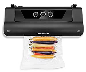 Chefman Electric Vacuum Sealer, Food Sealer Machine With Starter Kit, Keeps Food Fresh Up to 5x Longer, BPA Free Vacuum Sealer Roll for Packing/Storage Bags Included- BLACK (RJ45-BLACK)