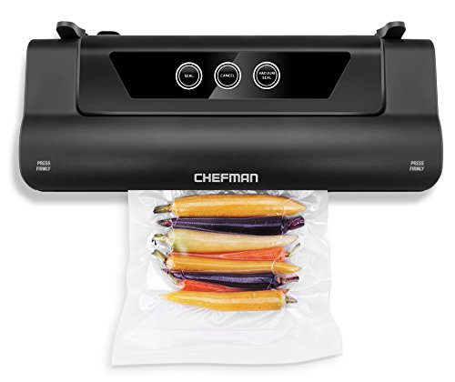 Chefman Electric Vacuum Sealer, Food Sealer Machine With Starter Kit, Keeps Food Fresh Up to 5x Longer, BPA Free Vacuum Sealer Roll for Packing/Storage Bags Included- BLACK (Vacuum Package Machine)