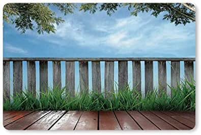 MOOCOM Patio Decor Utility Doormat,Wooden Seem Terrace Veranda with Olive Trees in Open Sky Photo for Home,23.6
