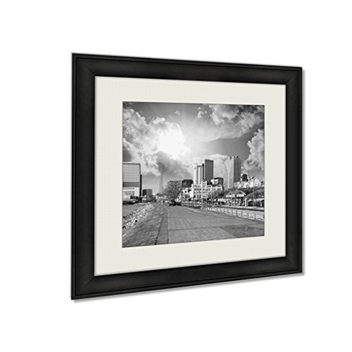 Ashley Framed Prints New Orleans Skyline With Beautiful Riverwalk At Sunset, Wall Art Home Decor, Black/White, 30x30 (frame size), - La Riverwalk New Orleans