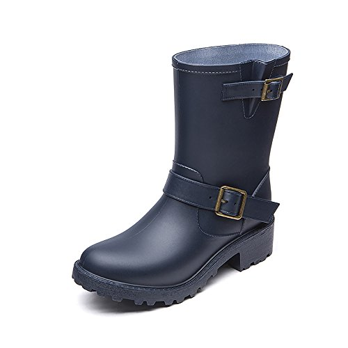 Blue Boots Waterproof Elastic DKSUKO Womens Colors for Adjust Boots Rain with 6 Motorcycle Girls wUnnHYEO4q