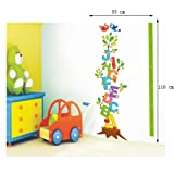 Wallmates Home Decor Mural Vinyl Wall Sticker Alphabet Letters Tree Height Chart Measurement Kids Nursery Room Wall Art Decal Paper