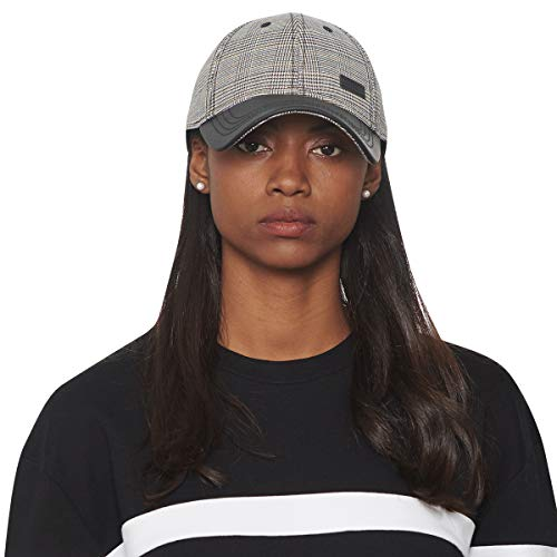 CACUSS Women's Plaid Classic Baseball Cap Dad Hat Adjustable Comfy Polo Golf Cap Trucker Cap Fashion Curved Visor Hat Black