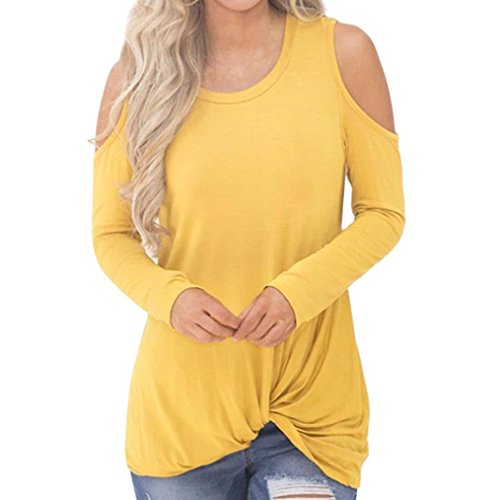 Seaintheson Women Casual Solid Long Sleeved Sexy Cold Shoulder Knotted Hem T-Shirt Blouse Top Yellow