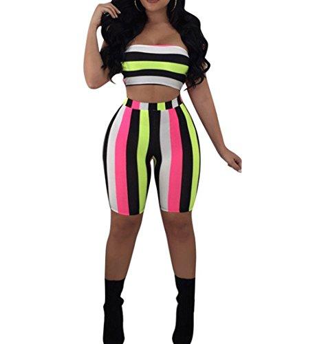 4cddab87b6c4 Jual Womens Stripe Print 2 Piece Outfit
