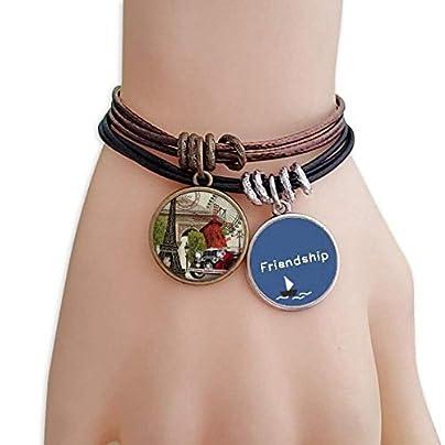 YMNW Old Car France Eiffel Tower Friendship Bracelet Leather Rope Wristband Couple Set Estimated Price -
