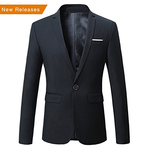Jearey Mens Blazer Casual Slim Fit Lapel Suit Jacket One Button Daily Business Dress Coat