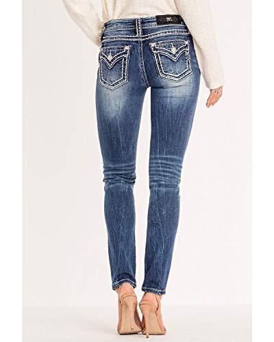 Miss Me Women's Classic Chic Border Stitch Skinny Jeans Blue 28W x 30L
