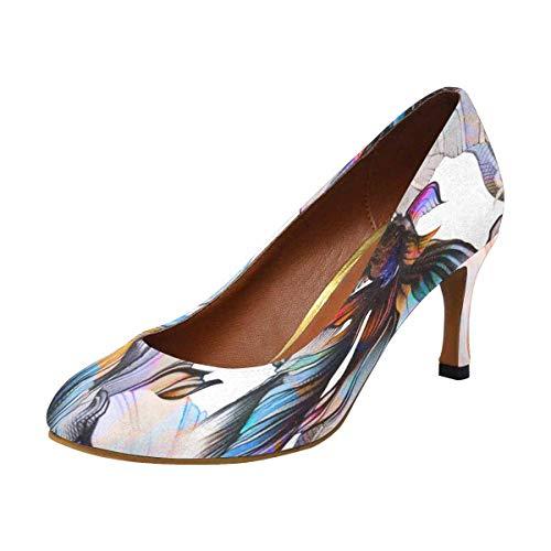 (INTERESTPRINT Women's Classic Fashion High Heels Dress Pump Shoes Watercolor Goldfish 5 B(M))