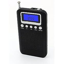 Leting Mini Digital Portable AM/FM radio with Clock Alarm. (828 Black)
