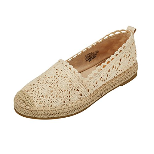 (Espadrille Sneakers for Women: Hollow Canvas Casual Flats Classic Slip-On Comfortable Shoes 9 B(M) US Beige)