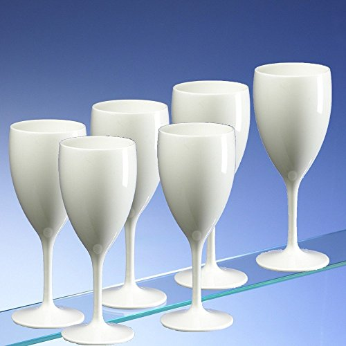 Elegant Design High Quality Large Wine Glasses  Unbreakable Polycarbonate  340ml (pack Of 6) In Solid White Finish: Amazon.co.uk: Kitchen U0026 Home