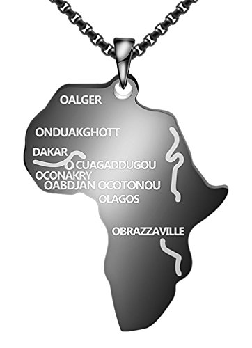Fusamk Hip Hop Alloy Africa Map Tag Pendant Letter Necklace with Chain,22inches