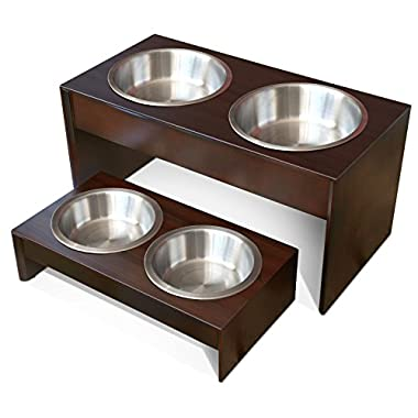 PetFusion Elevated Pet Feeder in Premium Grade A New Zealand Pine.  (i) Water Resistant.  (ii) Short 4  height.  (iii) 3 brushed stainless steel bowls included bowls