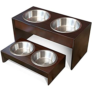 "PetFusion Elevated Dog Bowls in Grade A New Zealand Pine (Tall 10""). Water Resistant & 2 US FOOD GRADE Stainless Steel 56oz bowls"