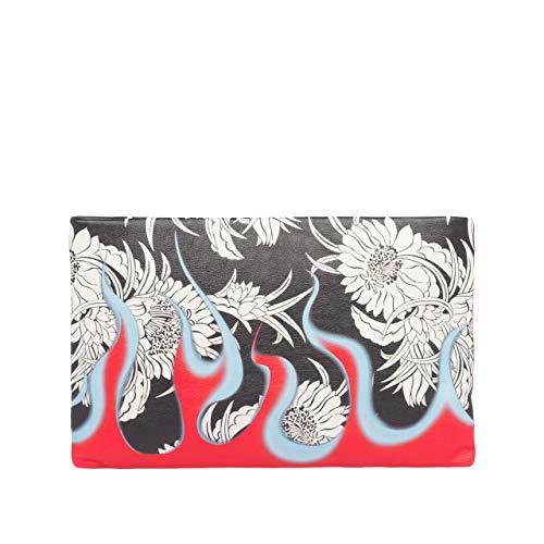 PD-Prada Printed leather clutch (black/red/white)