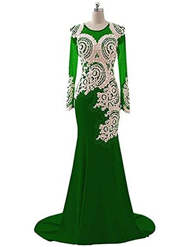 Applikationen Meerjungfrau Sheer nge Frauen Spitze King's Abendkleid Kleid Dunkelgr¨¹n Strass Langarm Mieder Love Abendkleid Perlen L Boden fwI6P