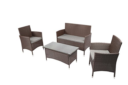 Baner Garden Outdoor Furniture Complete Patio 4Piece Cushion Pe Wicker Rattan Garden Set, (N68-CH), Chocolate price