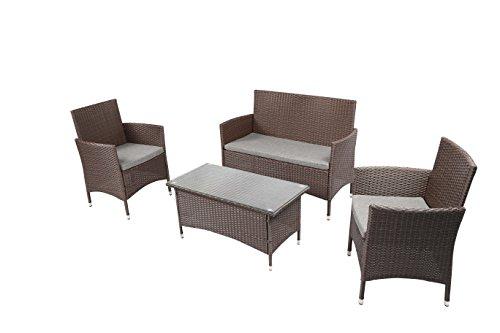 Baner Garden Outdoor Furniture Complete Patio 4Piece Cushion Pe Wicker Rattan Garden Set, (N68-CH), Chocolate (Outdoor Baner Garden Furniture)