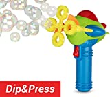 Dip&Press Bubble Gun Blower – New Electric Blaster with Soap Solution & 4 Wands | Indoor & Outdoor Shooter Toy for Girls, Boys and Toddlers | w/ eBook