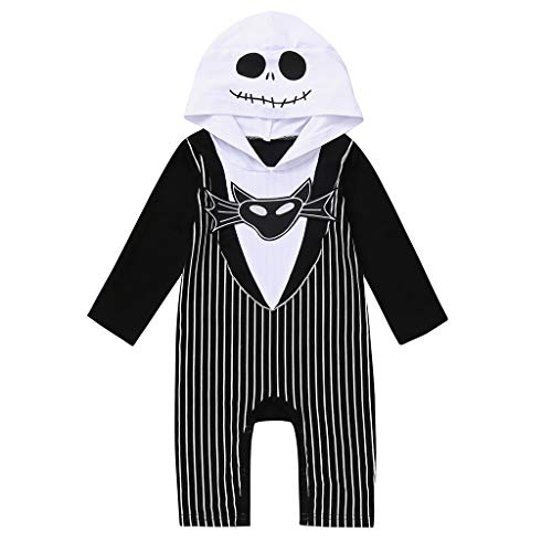 Nightmare Before Christmas Zero Costume Baby (Newborn Baby Boy Girl Halloween Cosplay Costume Party Nightmare Bat Striped Romper Hat Outfits Set (Black, 0-6)