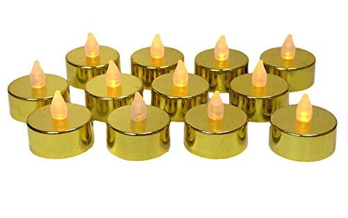 Gold Candles - Set of 12 Metallic Gold LED Tea Light Candles - Flameless Candles - Flickering Candles - Gold Wedding Decorations - 50th Wedding Anniversary Decorations - Over the Hill Decorations