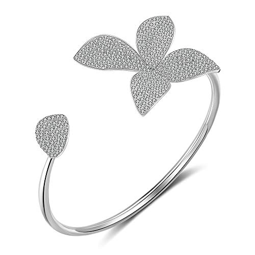 dnswez Flower Open Cuff Bracelet Bangle Silver Plate CZ Cubic Zircoina Pave Setting Adjustable Bracelets for Women Girl