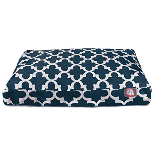 Navy Trellis Large Rectangle Indoor Outdoor Pet Dog Bed With Removable Washable Cover By Majestic Pet Products