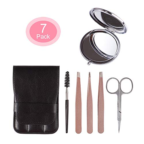 FITDON Eyebrow Tweezers Set, 3PCS Professional Stainless Steel Tweezer with Leather Travel Case & Curved Scissors & Spoolie Brush & Makeup Mirror, Best Precision for Eyebrows, Ingrown Hair, Splinter