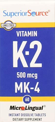 Superior Source Vitamin K2 MK-4 Sublingual - Menaquinone 4 500 mcg Instant Dissolve Tablets - Dissolvable K2 Vitamins - 60 Count (E Source Vitamin Superior)