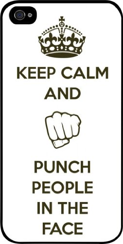 Keep Calm and Punch People in the Face - Iphone 5 plastic black case - compatible with Iphone 5 5s (NOT 5C) ()