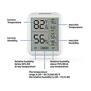 Inkbird Digital Hygrometer Thermometer ITH20 Indoor Temperature Humidity Monitor Gauge Indicator Thermo Hygro Accurate Meter Switch Cigar Humidor Guitar Greenhouse Basement Home