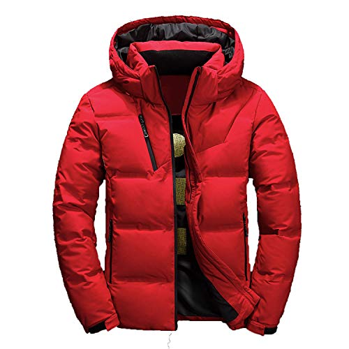 - Winter Men's Down Jacket Casual Thick Detachable hat White Duck Down Hooded Coat Male Outwear,red,L