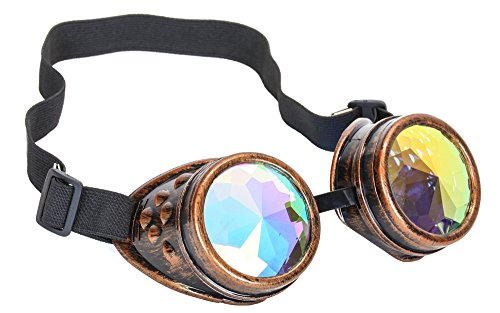 Kaleidoscope Goggles Sunglasses Cosplay Aviator Steampunk Cyber Ravers (COPPER) -