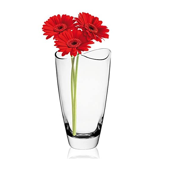 KROSNO Swoop Vase, Handmade, 9-inch high - Tall, decorative glass vase with modern design and swooped rim Thick sham and smooth sides Polished, flat-slanted cut rim - vases, kitchen-dining-room-decor, kitchen-dining-room - 415UEXp3FRL. SS570  -
