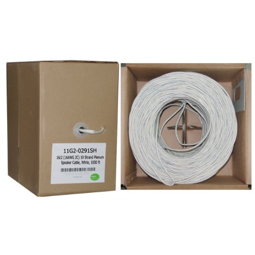 Plenum Speaker Cable, White, Pure Copper, 16/2 (16 AWG 2 Conductor), 19 Strand / 0.297mm, CMP, Pullbox, 1000 foot - Clear Banana Plug Compatible Gauge Spooled Jacket Wire (Speaker Biwire Channel Cable Center)
