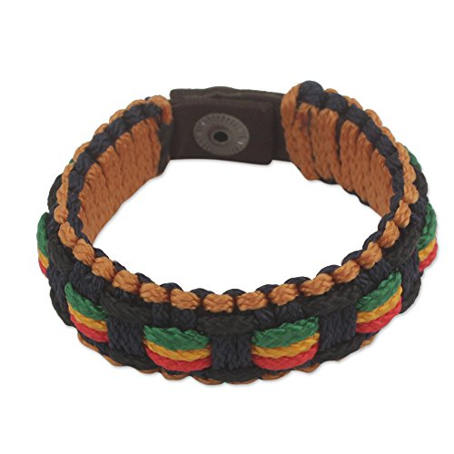 NOVICA Men's Colorful Woven Wristband Bracelet with Brass Button 'Good Vibes'
