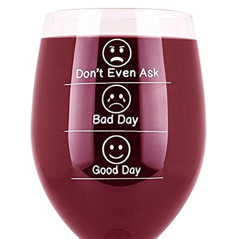 Whimsical Gift World Funny Wine Glass 19 Oz. With Emoji Faces (Don't Even Ask, Good Day, Bad Day) | Novelty Gag Gifts for Men & Women | For Red & White Wine, Celebrations & Wine Tasting