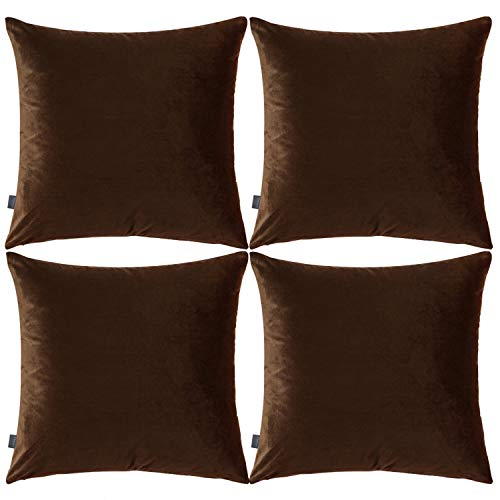 4 Pack Soft Velvet Cushion Covers,Comfortable Decorative Square Throw Pillow Covers for Sofa Bedroom Couch 18 x 18 Inch 45 x 45 cm(Cover Only,No Insert) (Coffee)