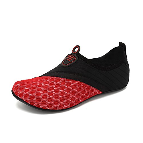 Breathable with Beach Mesh Slip Quick Dry Water Bag Shoes Aqua Unisex Barefoot Shoes Phone Waterproof Non Shoes Red Skin HooyFeel qZYvpx