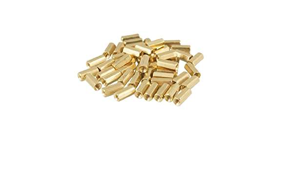 Aexit 50 Pcs Tube Fittings Male to Female Thread Brass Pillars Standoff Microbore Tubing Connectors Spacer M2x3mmx24mm