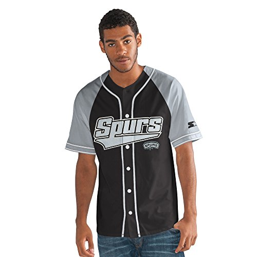 STARTER NBA San Antonio Spurs Men's The Player Baseball Jersey, Large, (Nba Black Green Stripe)
