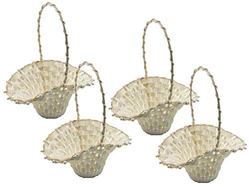 SET - 4 Stück Blumenkinderkörbchen Biedermeierkorb CREME GROSS, ca. 24 x 17 cm, Blumenkorb
