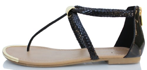 Zwarte Slangenhuid Faux Lederen T-strap Enkelbandje Platte Sandalen Harty