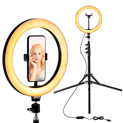 "Selfie Ring Light 10"" with Adjustable Tripod Stand & Phone Holder for Live Stream/Makeup,Dimmable Beauty Led Ringlight"