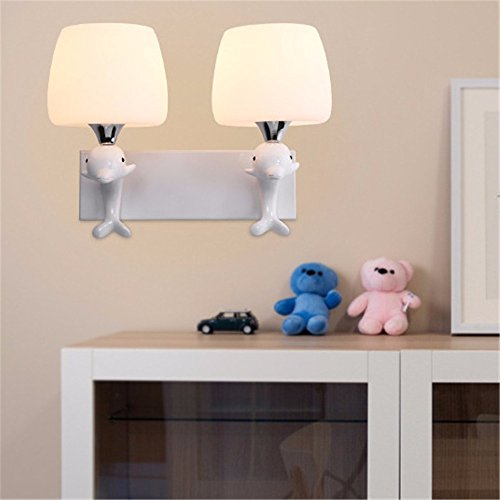 (LED Wall Lights Wall Sconce Light Fixture Up Down Decorative Wall Lighting The Lovely Dolphins Wall lamp Glass Hotel Rooms Bedroom Bedside lamp for Living Room Bedroom Bathroom Kitchen Dining Room1 )